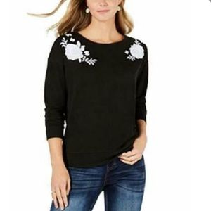 Style & Co black sweater with white flowers